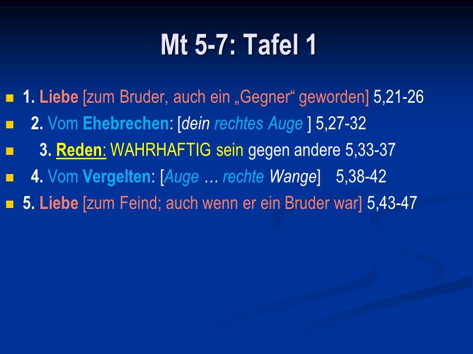 """Mt 5-7: Tafel 1 1. Liebe [zum Bruder, auch ein """"Gegner geworden] 5,21-26. 2. Vom Ehebrechen: [dein rechtes Auge ] 5,27-32."""